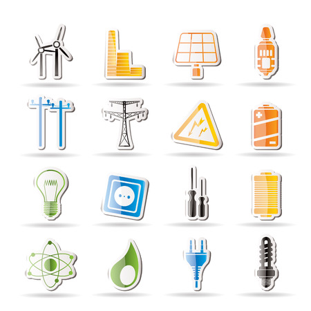 nuclear power station: Simple Electricity,  power and energy icons