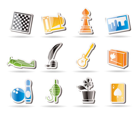 Simple Hobby, Leisure and Holiday Icons Stock Vector - 7816882