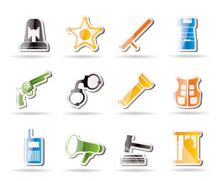 Simple law, order, police and crime icons   Stock Vector - 7816920