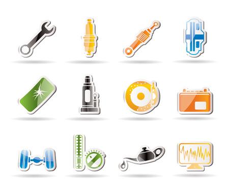 piezas coche: Iconos de piezas de autom�viles y servicios simples