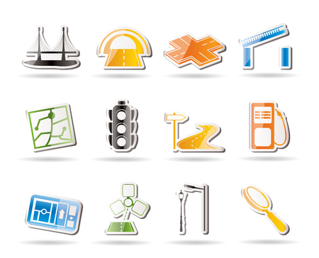 web design bridge: Simple Road, navigation and travel icons