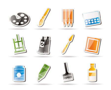 Simple painter, drawing and painting icons Stock Vector - 7816923