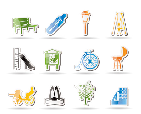fountain: Park objects and signs icon   Illustration