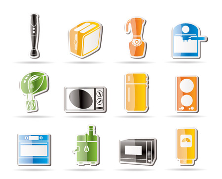 icebox: Simple Kitchen and home equipment icons   Illustration