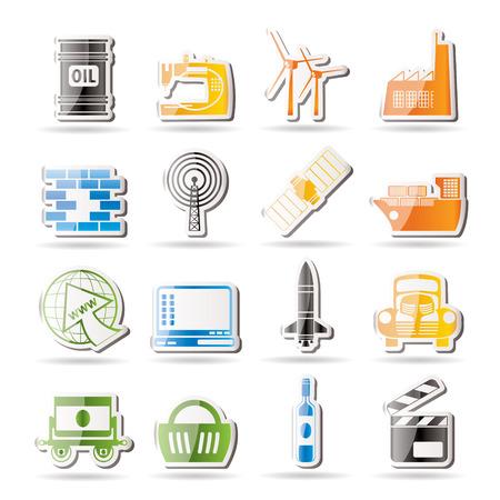 telecomunicaci�n: Iconos de negocios y la industria simples