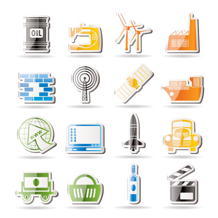 telecom: Simple Business and industry icons  Illustration