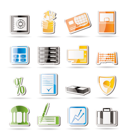 Simple bank, business, finance and office icons   Vector