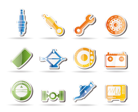 Realistic Car Parts and Services icons  Stock Vector - 7880234