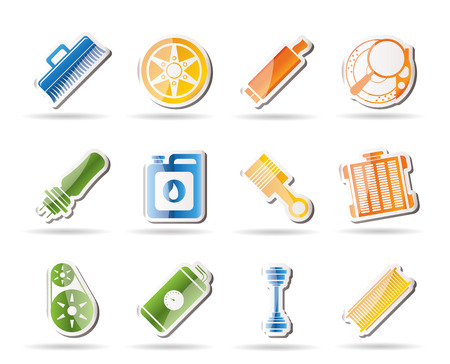 Realistic Car Parts and Services icons   Stock Vector - 7880235
