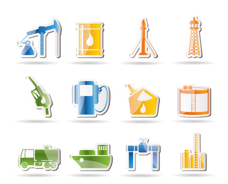 fossil: Iconos de la industria de petr�leo y gasolina  Vectores