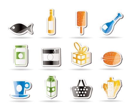 Shop, food and drink icons  Vector