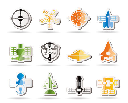 different kinds of future spacecraft icons Stock Vector - 7880210