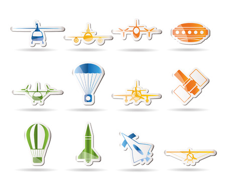 different types of Aircraft Illustrations and icons   Vector