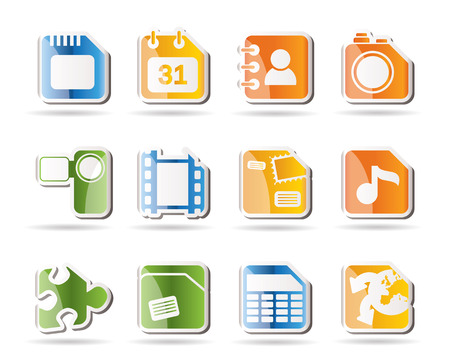 Mobile Phone, Computer and Internet Icons   Vector
