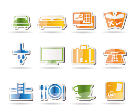 Hotel and motel icons Stock Vector - 7880214