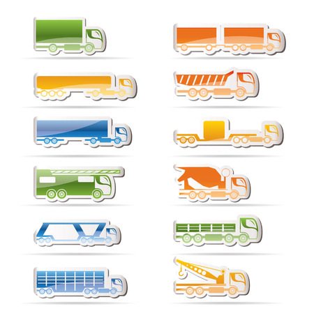 wreckage: different types of trucks and lorries icons  Illustration