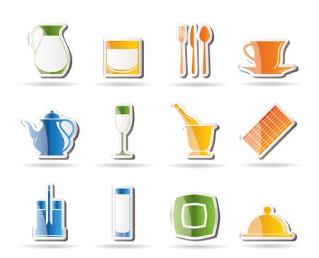 cafe bar: restaurant, cafe, bar and night club icons  Illustration