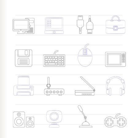periferia: Icone di attrezzature e periferia del computer