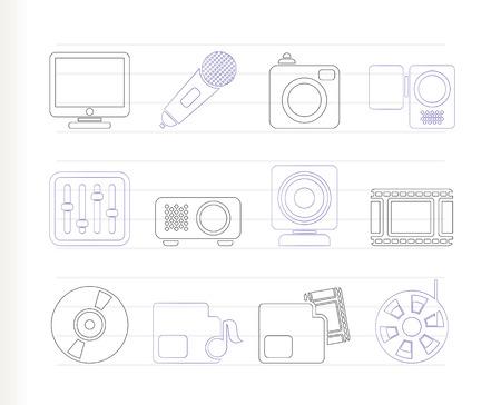 Media equipment icons Stock Vector - 7880207