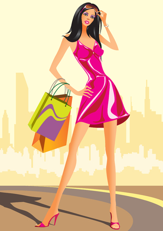 urban fashion: fashion shopping girls with shopping bag   illustration