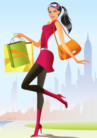 glamors: fashion shopping girls with shopping bag   Illustration
