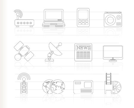 Business, technology  communications icons Stock Vector - 8033132