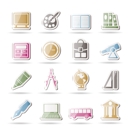 School and education icons Stock Vector - 8033158
