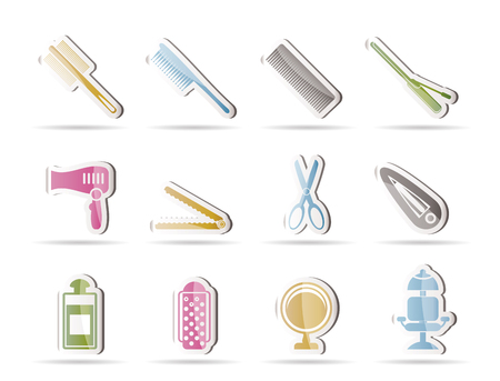 hairdressing, coiffure and make-up icons - vector icon set Vector Illustration