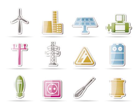 発電機: 電気、電源アイコン - ベクトル アイコンを設定  イラスト・ベクター素材