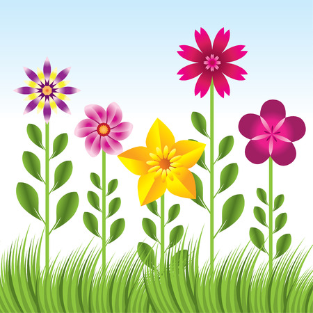 abstract flower background with grass  Vector