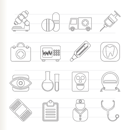clinical thermometer: medical, hospital and health care icons  Illustration