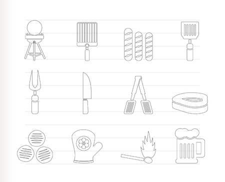picnic, barbecue and grill icons   Vector