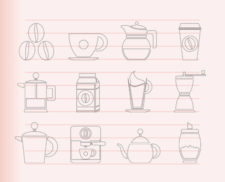 grinder machine: coffee industry signs and icons  Illustration