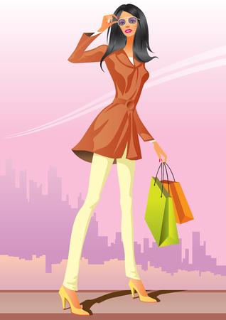 fashion shopping girls with shopping bag  Vector