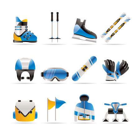 mountain skier: ski and snowboard equipment icons  Illustration