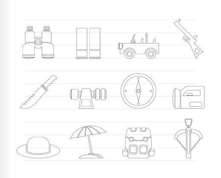 farsighted: safari, hunting and holiday icons  Illustration