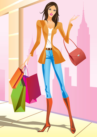 glamour shopping: fashion shopping girls with shopping bag in New York - vector illustration