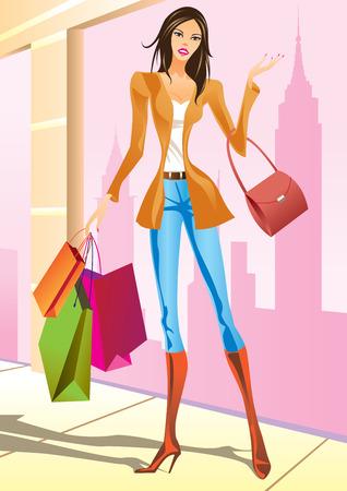 las niñas con bolsa de compras en Nueva York - ilustración vectorial de compras de moda
