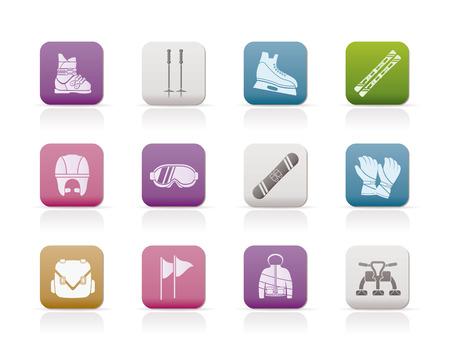ski goggles: ski and snowboard equipment icons - icon set