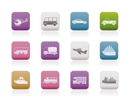 streetcar: Iconos de viajes y transporte - conjunto de iconos  Vectores