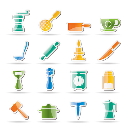 bailer: Kitchen and household tools icons - icon set Illustration