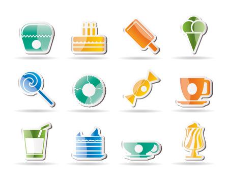 sweetmeats: Iconos de alimentos y productos de confiter�a dulces - conjunto de iconos  Vectores