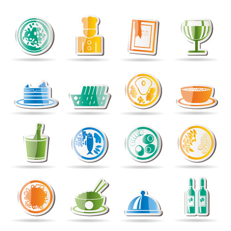 soup and salad: Restaurant, food and drink icons - icon set
