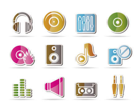 recorded: Music and sound icons -  Icon Set Illustration