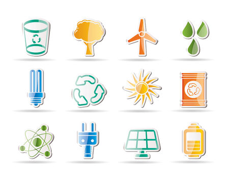 Ecology, energy and nature icons - Icon Set Stock Vector - 8130866