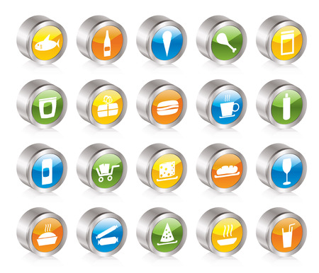 Shop and Foods Icons - Icon Set Vector