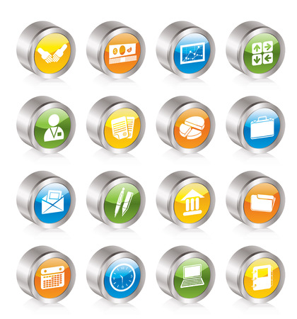 Simple Business and office icons - Icon Set Stock Vector - 8130896