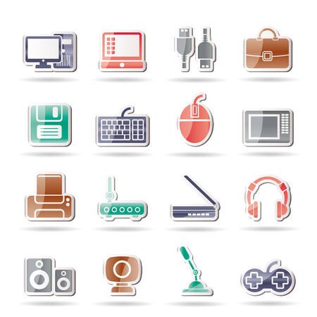 Computer equipment and periphery icons - icon set Vector
