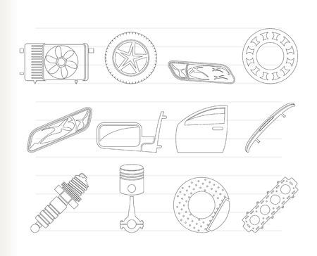 breaks: Iconos realistas de piezas de autom�viles y servicios - Icon Set