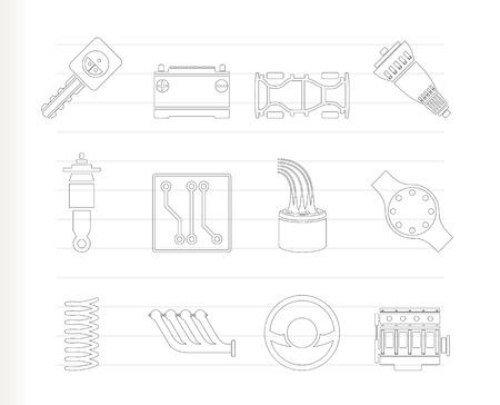 repuestos de carros: Iconos realistas de piezas de autom�viles y servicios - Icon Set  Vectores